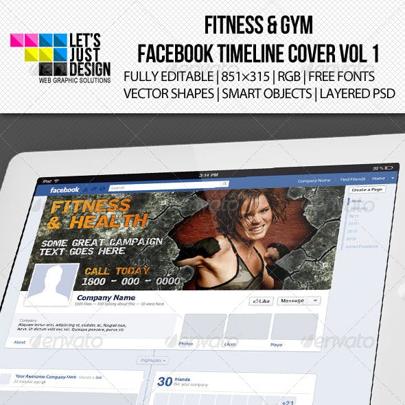 Fitness & Gym Facebook Timeline Cover Vol 1