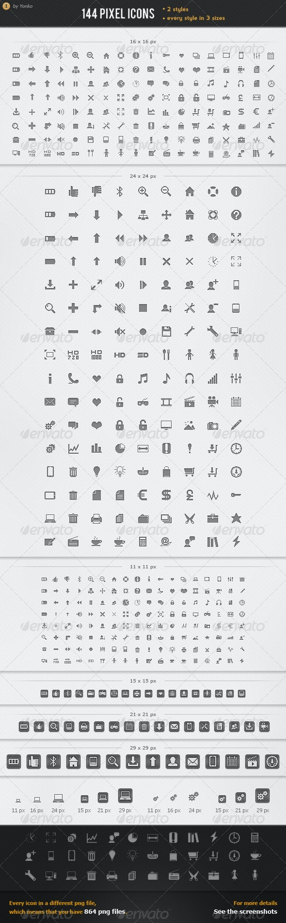 144 Pixel Icons Pack - Web Icons