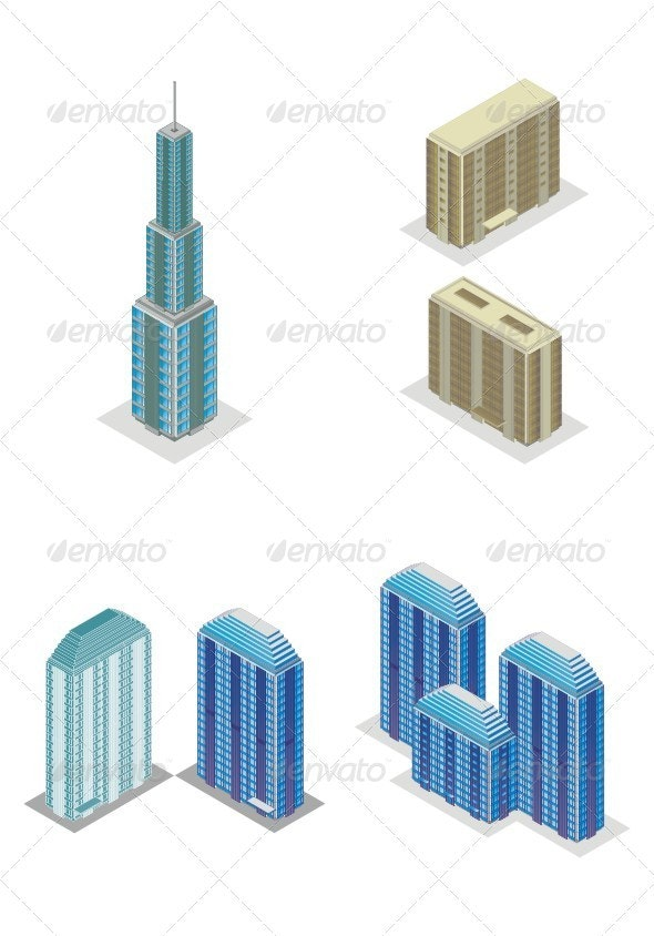 Isometric Projection Of A Skyscraper Building. - Buildings Objects
