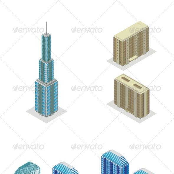 Isometric Projection Of A Skyscraper Building.