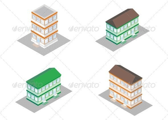 Isometric Projection Of A Building. - Buildings Objects