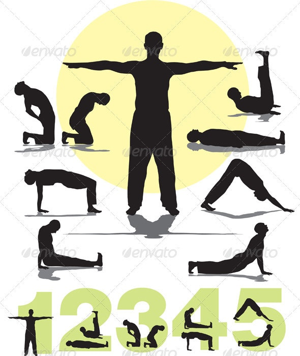 Set five Tibetan rites yoga - People Characters