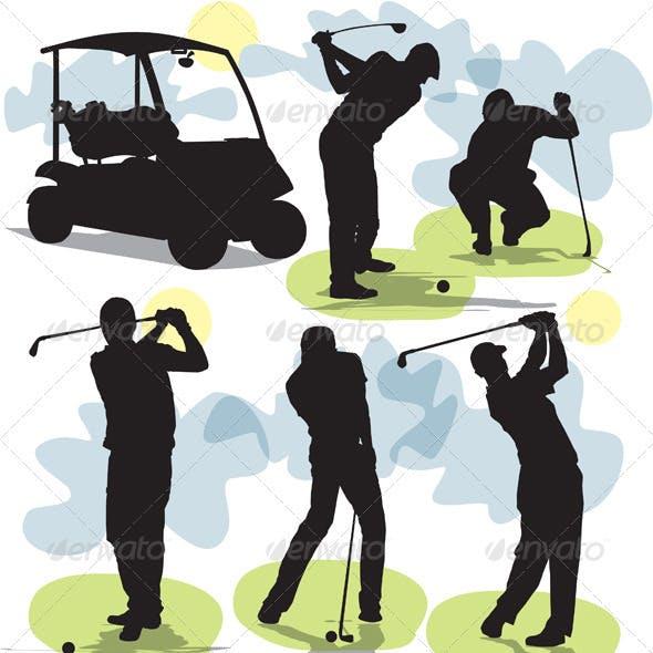 Set golf silhouettes