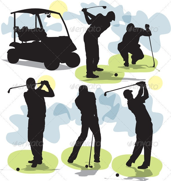 Set golf silhouettes - People Characters