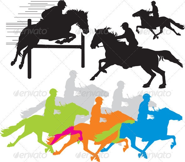 Set vector horse rider silho - People Characters