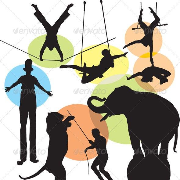 Set vector circus silhouette