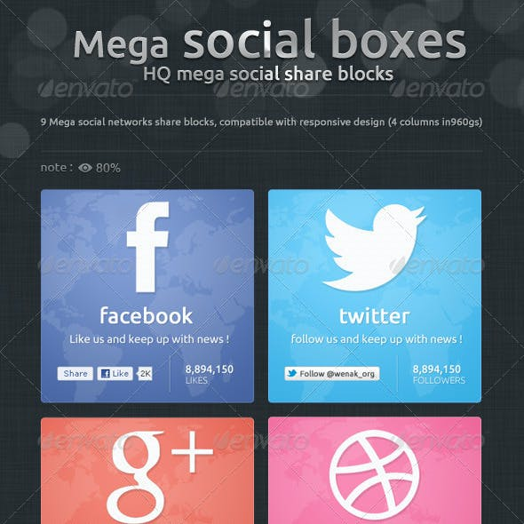 Mega Social Boxes - Social Share Blocks