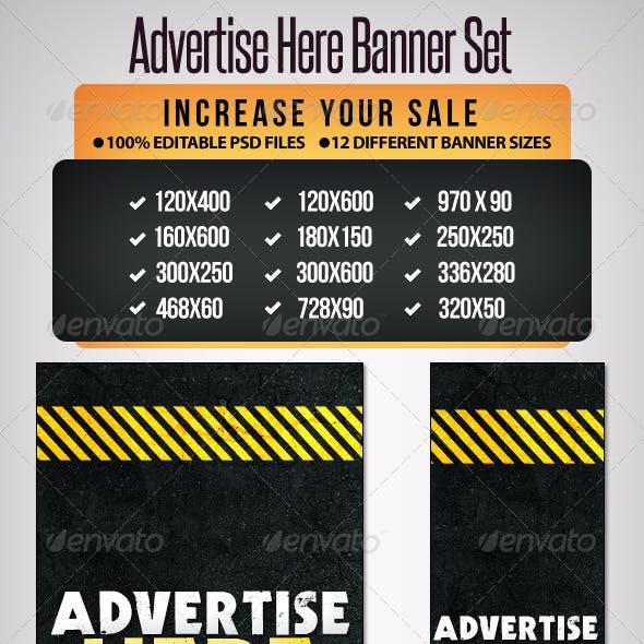 Advertise Here Banner Set - 12 Google Sizes
