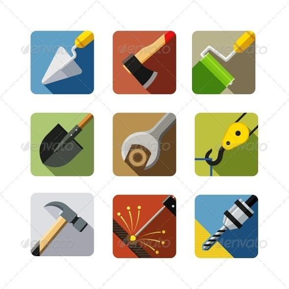 Construction Tools. Set of Vector Icons