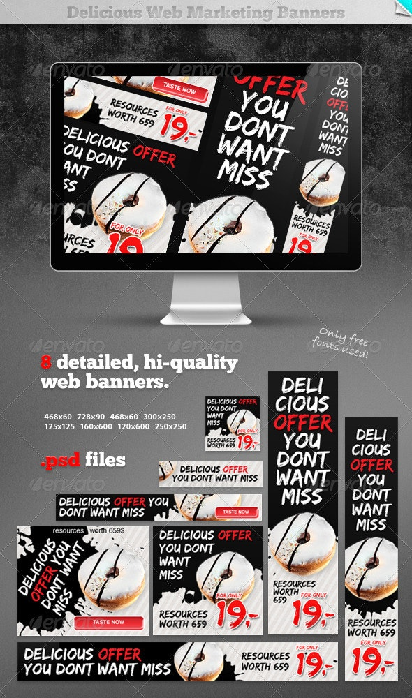 Delicious Web Marketing Banners - Banners & Ads Web Elements