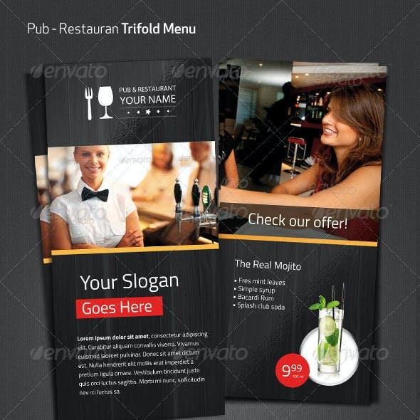 Pub Restaurant Menu Flyer