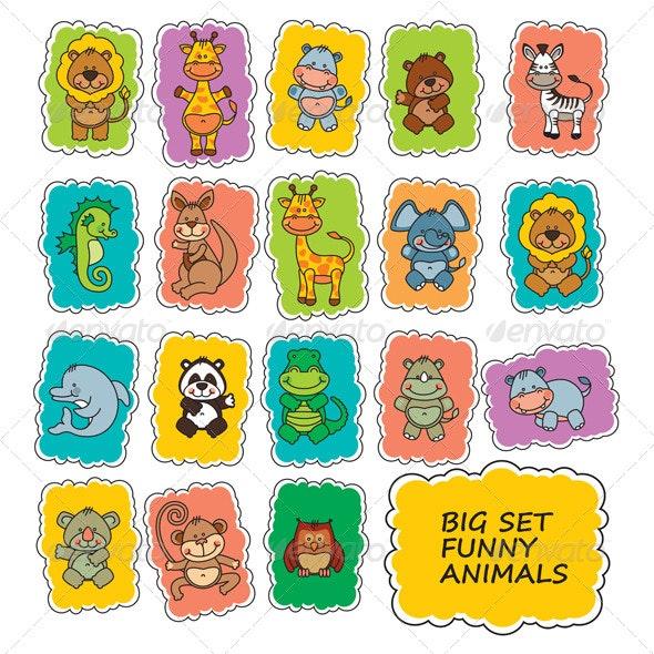 Set Funny Cartoon Animals - Animals Characters