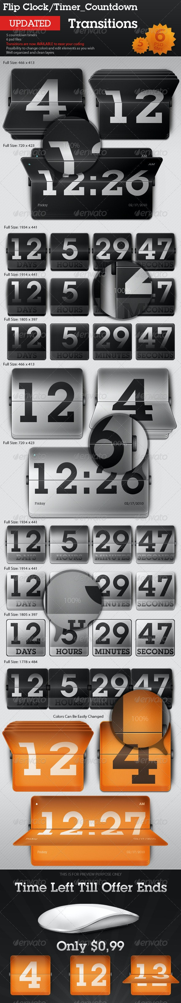 Flip Clock / Countdown Timer - Transitions - Miscellaneous Web Elements