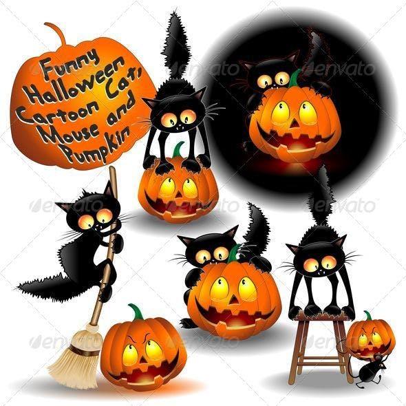Funny Halloween Cartoon Cat, Mouse and Pumpkin