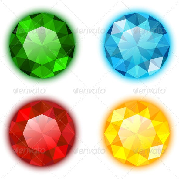 Set of Four Colorful Gems Round Shaped