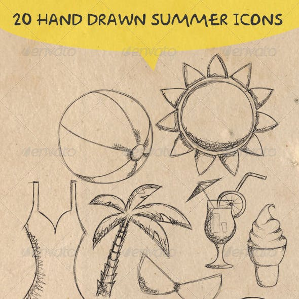 20 Hand Drawn Summer Icons