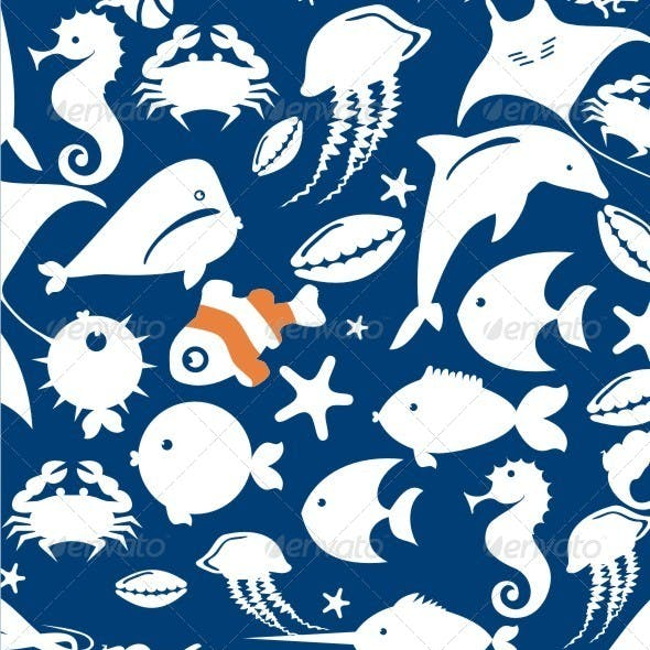 Seamless Pattern of Fish
