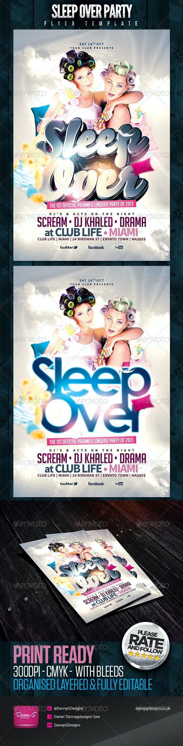 Sleep Over Party Flyer Template - Clubs & Parties Events