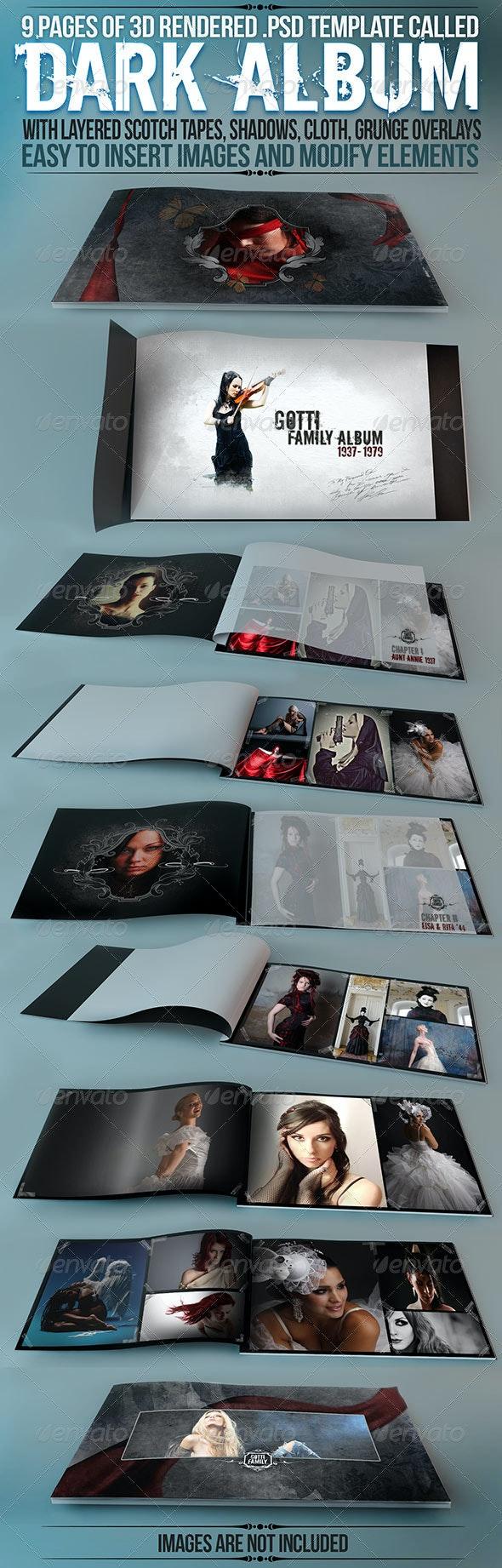 "Album / Catalog Mockup ""Dark Album"" - Product Mock-Ups Graphics"