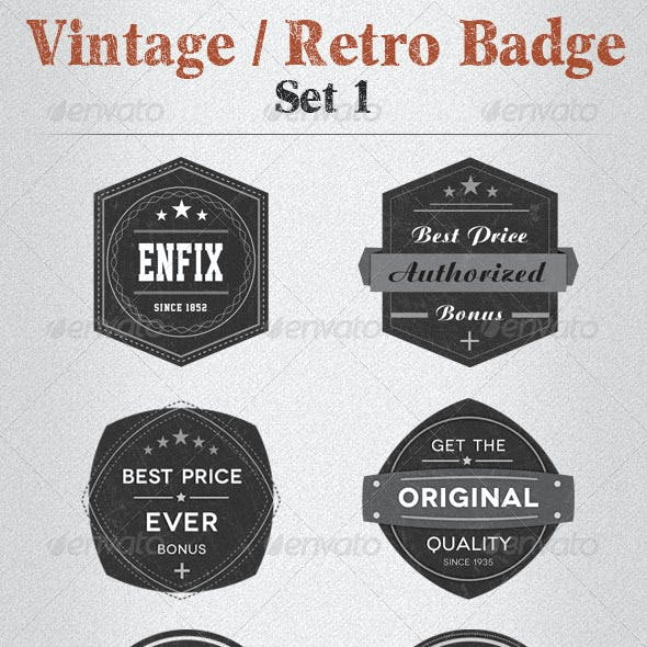 Vintage / Retro Badge Set 1