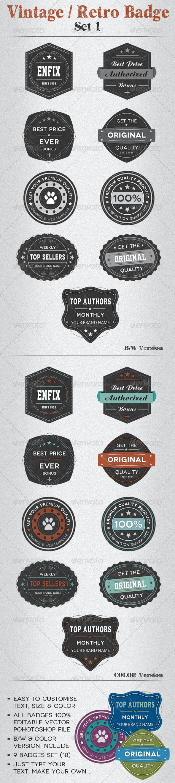 Vintage / Retro Badge Set 1 - Badges & Stickers Web Elements