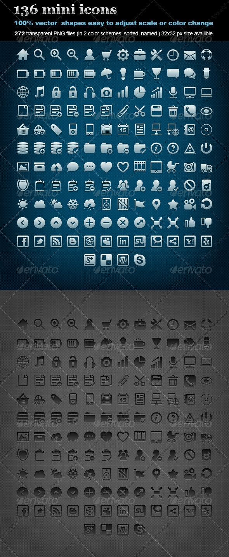 136 Mini Icons - Web Icons