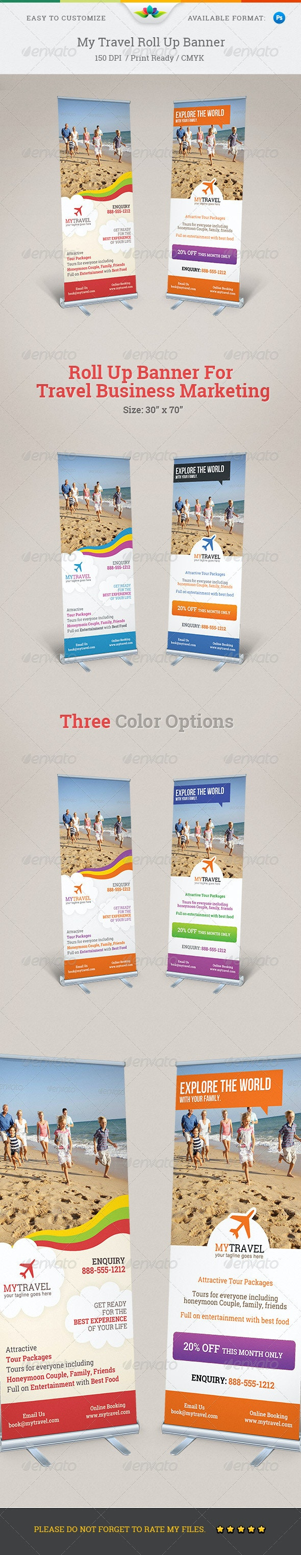 My Travel Roll Up Banner  - Signage Print Templates