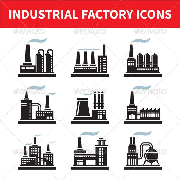 Industrial Factory Icons Set