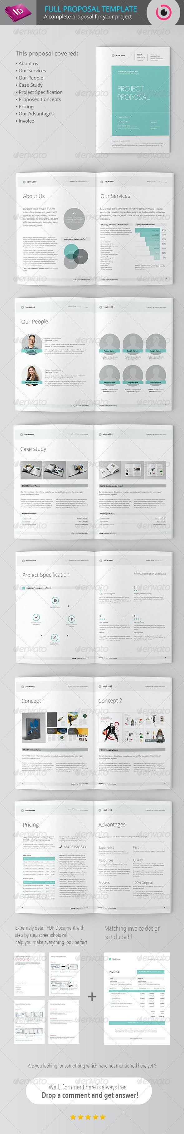 Full Project Proposal Template - Proposals & Invoices Stationery
