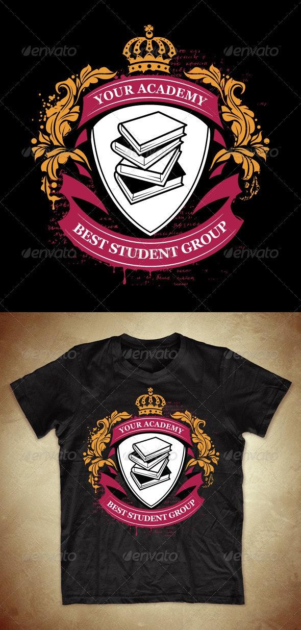Grunge T-shirt Design with Classic Academy Symbols - Academic T-Shirts