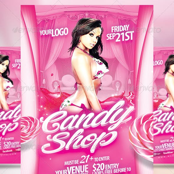 Sweet Candy Shop Party Flyer