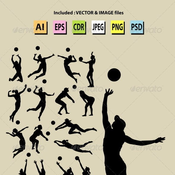 Beach Volleyball Girl Silhouettes