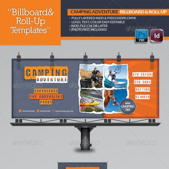 Camping Adventure Billboard & Roll-Up Template
