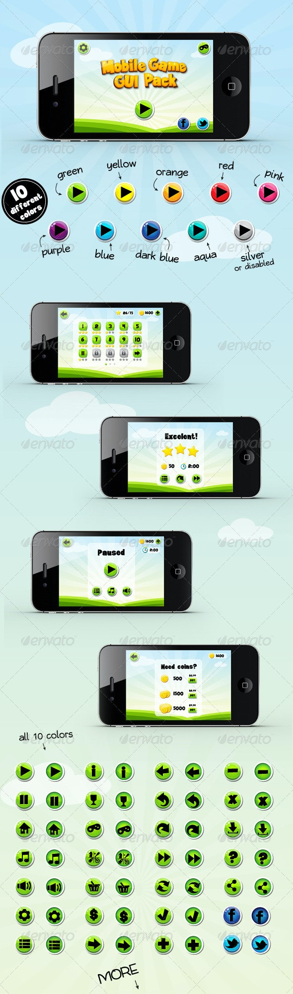 Mobile Game Gui Pack - User Interfaces Web Elements