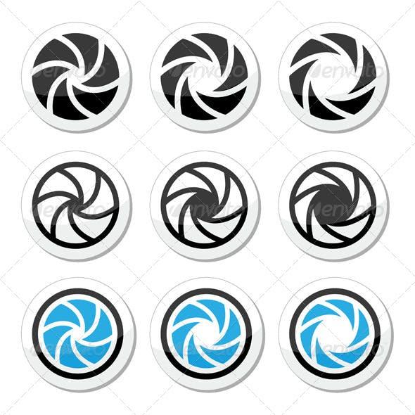 Camera Shutter Aperture Icons Set