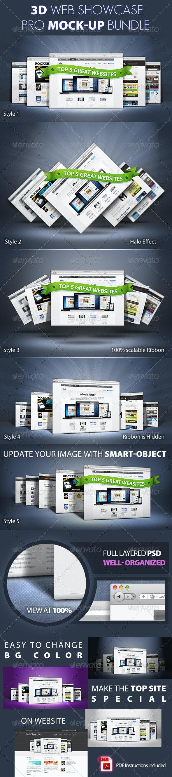 PRO 3d Web Showcase Mock-ups - Website Displays