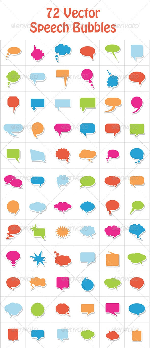 72 Vector Comic Speech Bubbles Set 1 by CreativeW0rk | GraphicRiver
