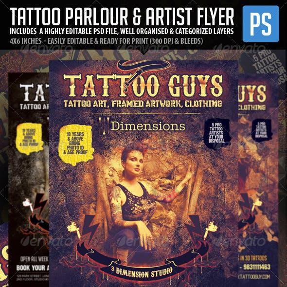 Tattoo Artist & Tattoo Parlour Flyer