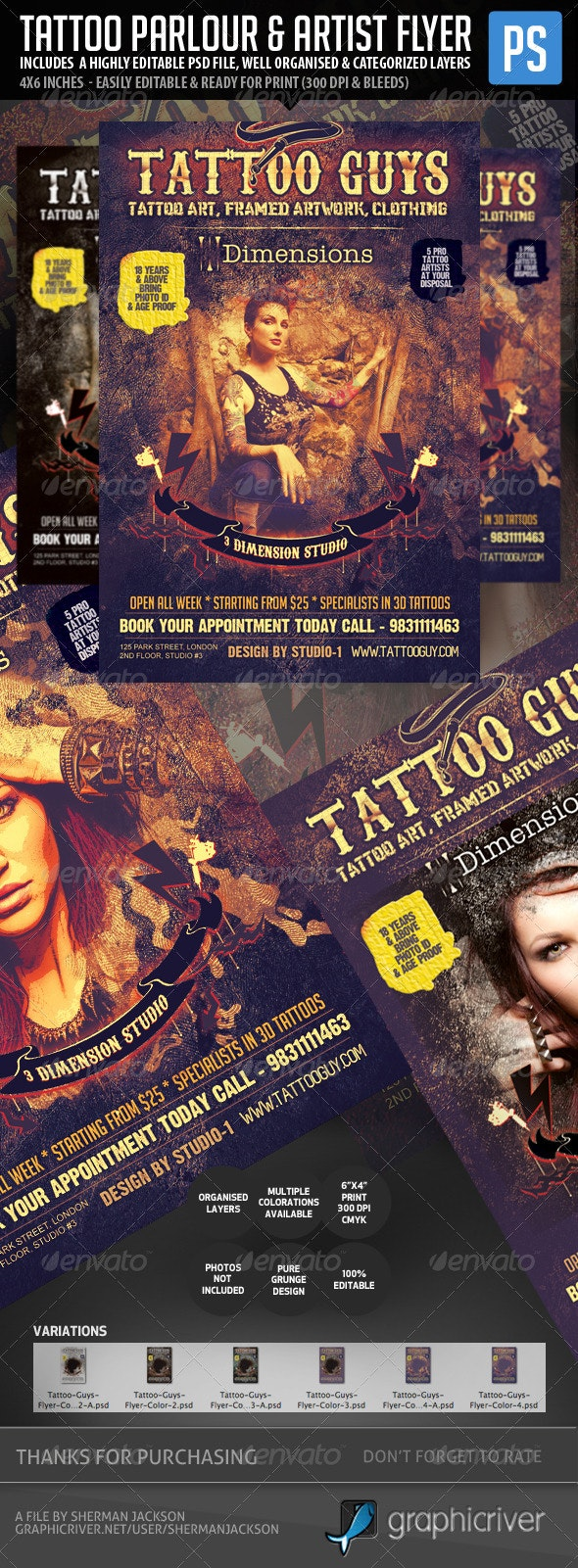 Tattoo Artist & Tattoo Parlour Flyer - Miscellaneous Events