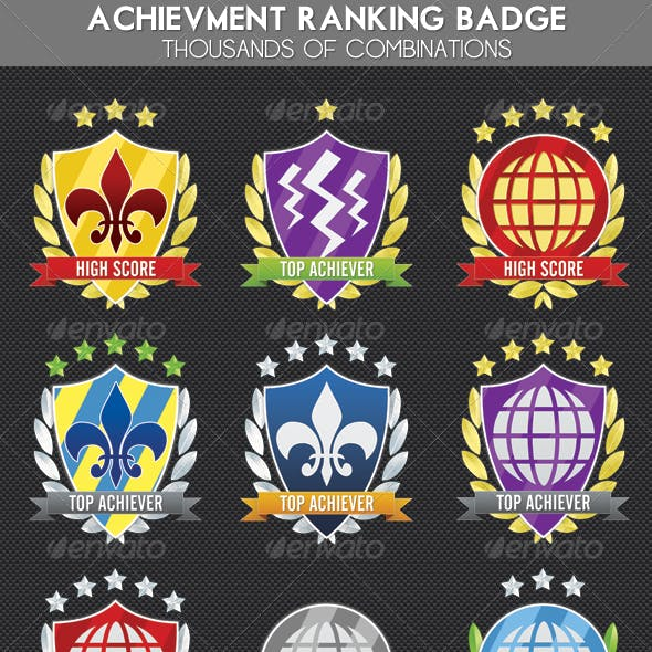 Achievement, Ranking Experience Shield Award Badge