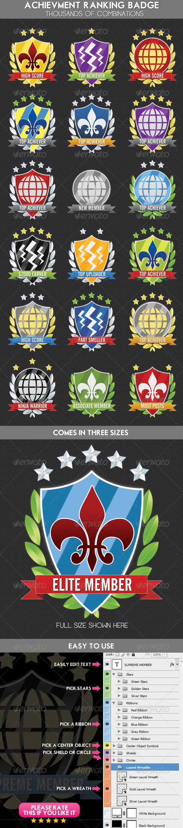Achievement, Ranking Experience Shield Award Badge - Badges & Stickers Web Elements