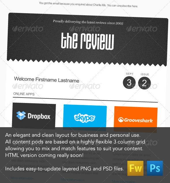 'The Review' E-newsletter Design - E-newsletters Web Elements