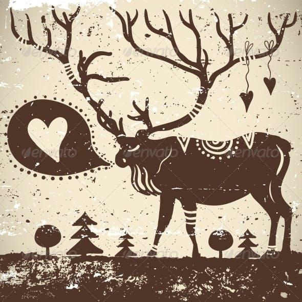 Download Wild Animal Grungy Background Deer