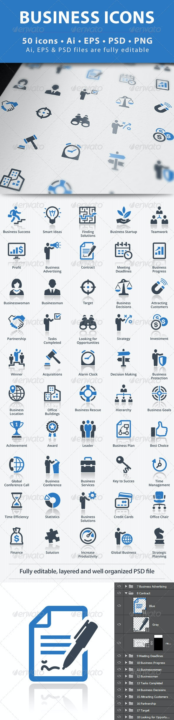 Business Icons - Blue Series - Business Icons