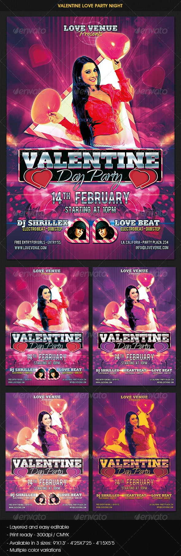Valentine Love Party Night Flyer - Clubs & Parties Events