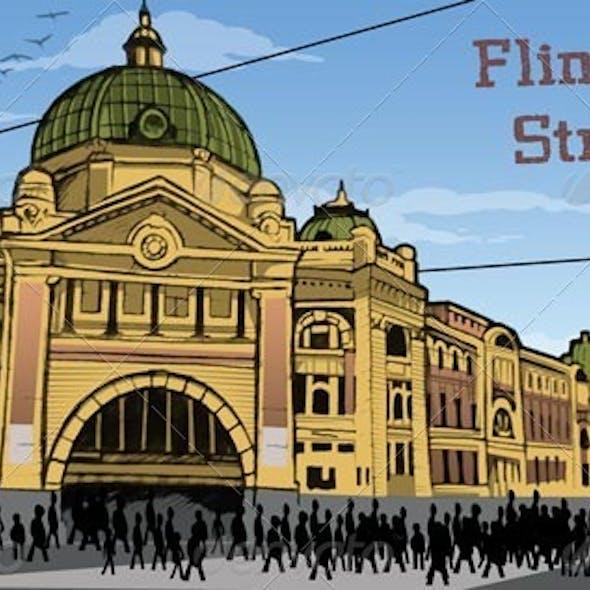 Flinders St. Station Illustration in Melbourne, AU