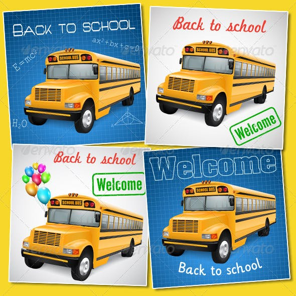 Set of Cards With School Bus