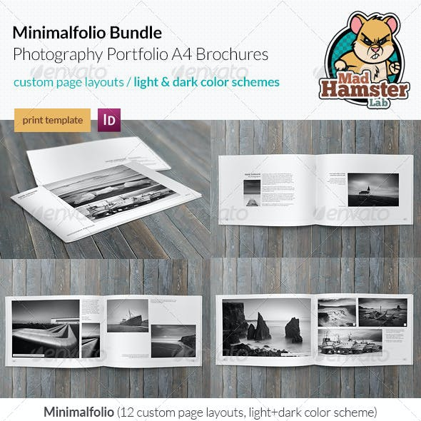 3x Minimalfolio Photography Portfolio A4 Brochures Bundle