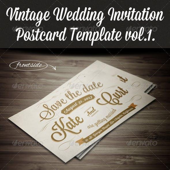 Vintage Wedding Invitation Postcard Template vol.1