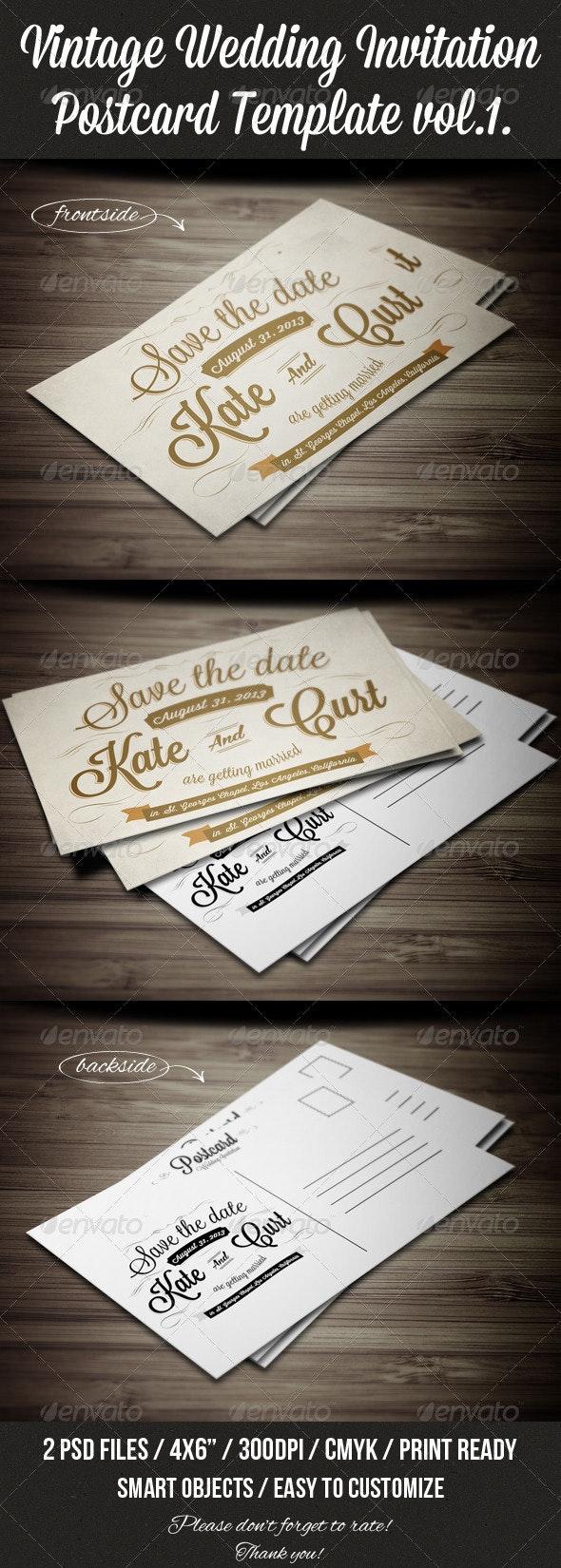 Vintage Wedding Invitation Postcard Template vol.1 - Weddings Cards & Invites